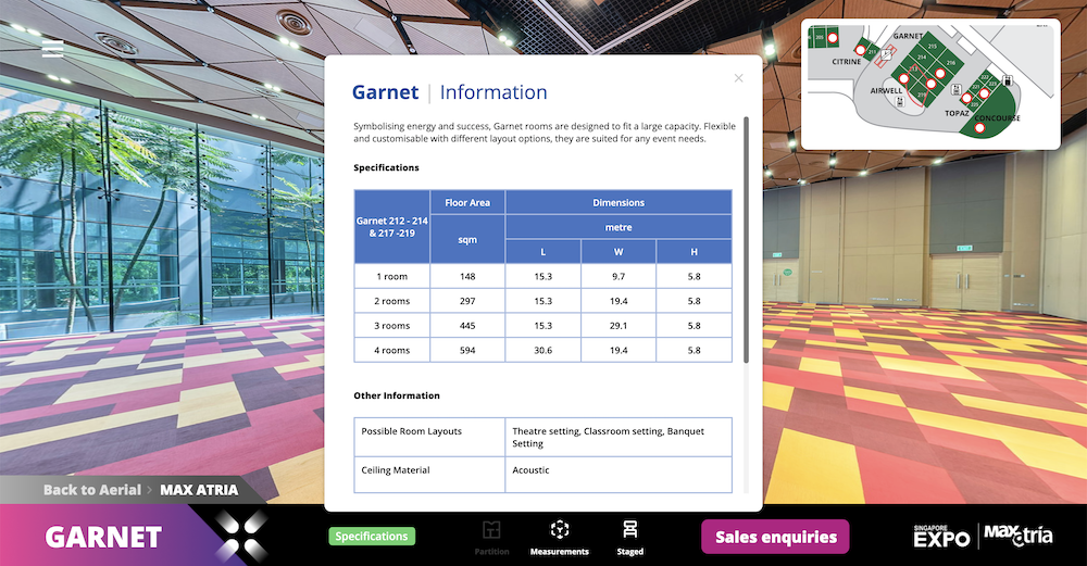 A specifications button can be toggled on or off to learn more about a convention hall or room. This pop-up relays the venue dimensions and other information such as possible room layouts, ceiling materials, flooring, and audio-visual technology available.