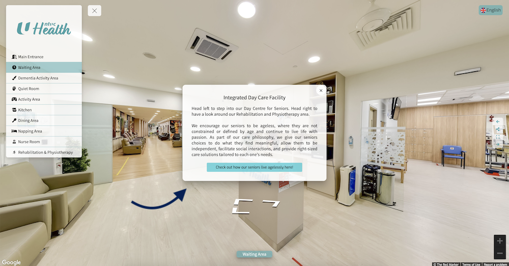 """Clicking on the """"i"""" icon located around the tour will give you access to the Hotspots Content. These hotspots provide more information on the kinds of services NTUC Health's Senior Day Care provides."""