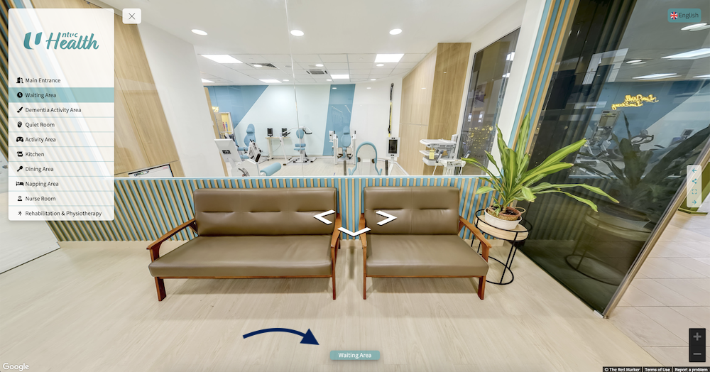 Every time the user moves from one area to another, the Panorama Label updates with the name of the room. This helps users be aware of the different areas of the Day Care, and also gives better context to the services potential clients can avail themselves of in the room.