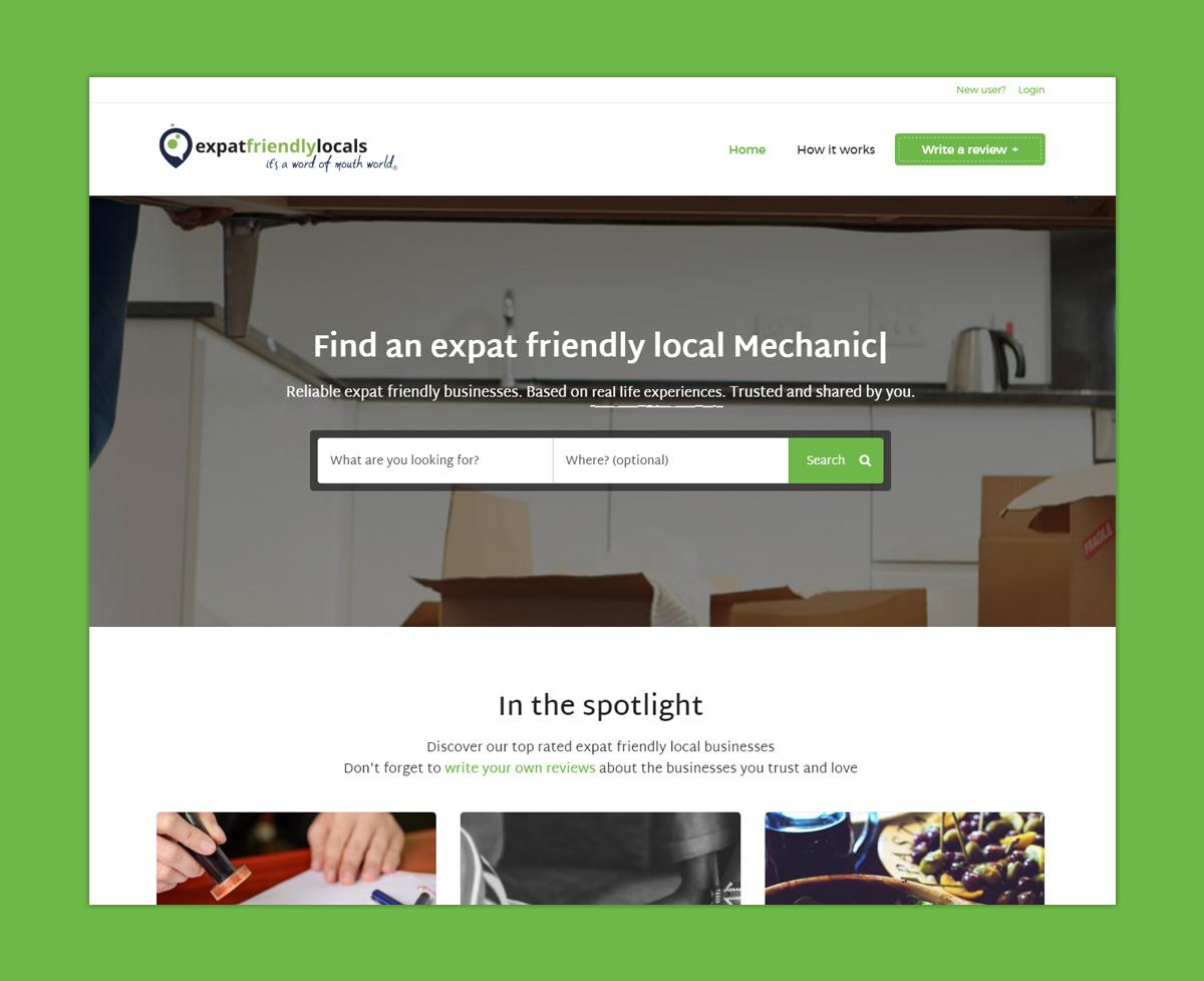 Homepage van ontwikkelde platform