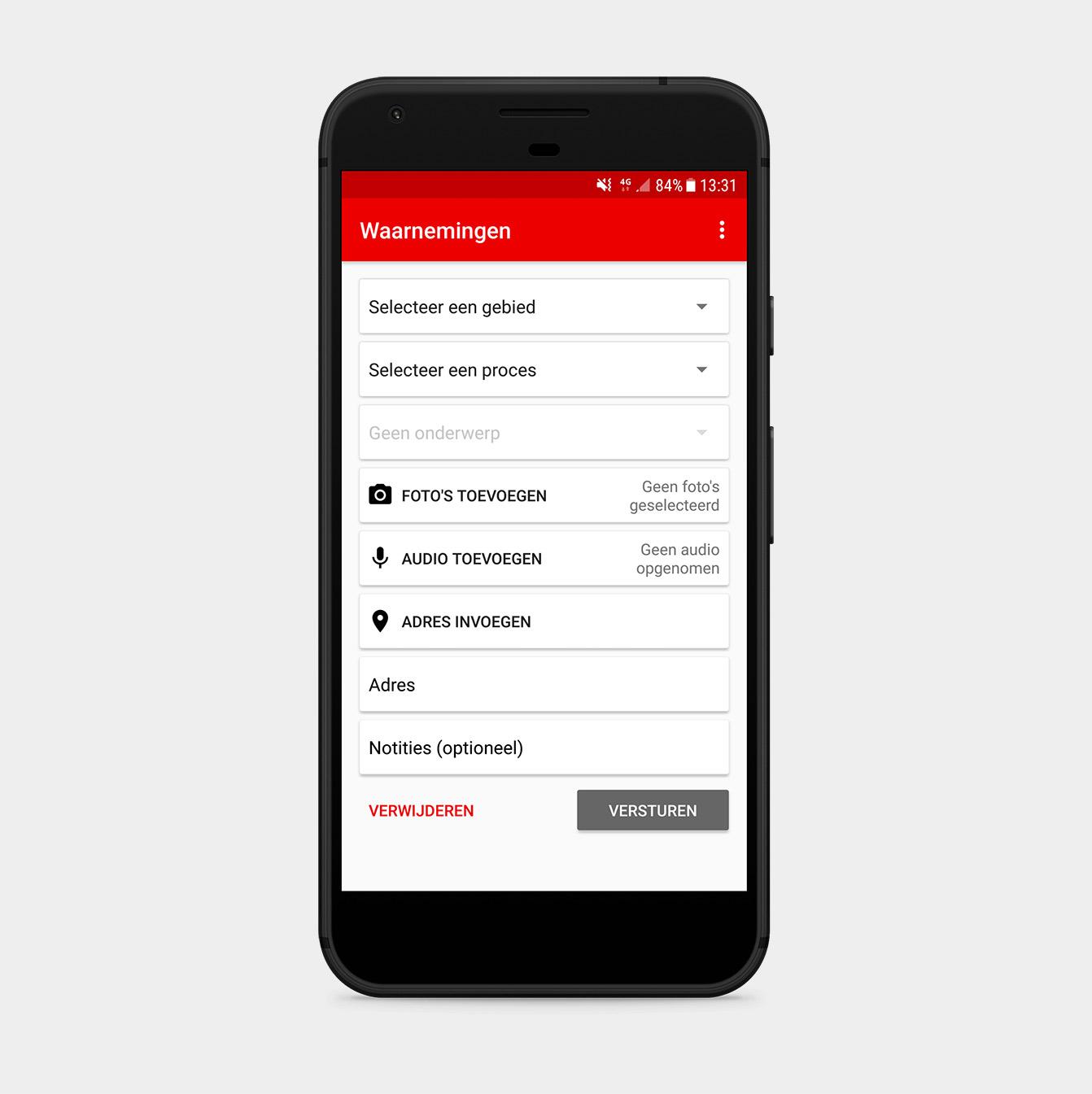 Waarnemingen app op mobiele telefoon