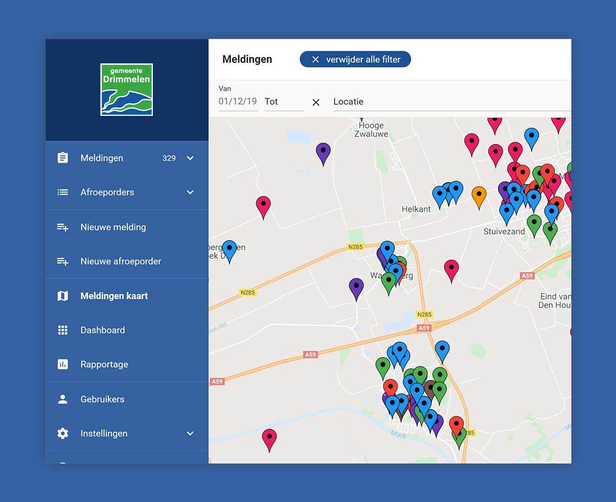 Weergave van meldingen op de kaart in webapplicatie