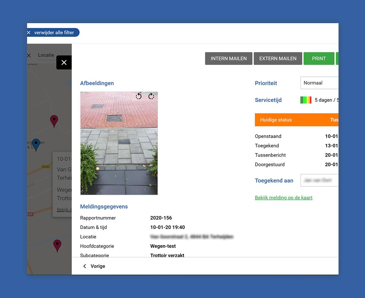Weergave van een meld detail scherm in webapplicatie