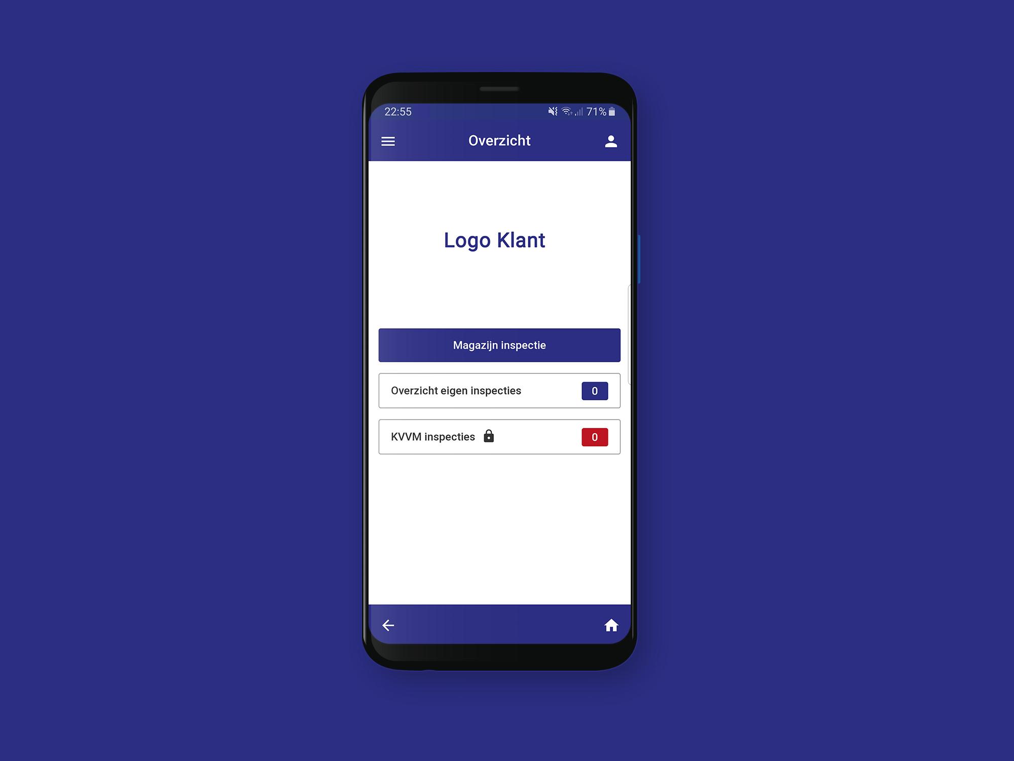 Ontwikkelde inspectie app voor gebruik klanten