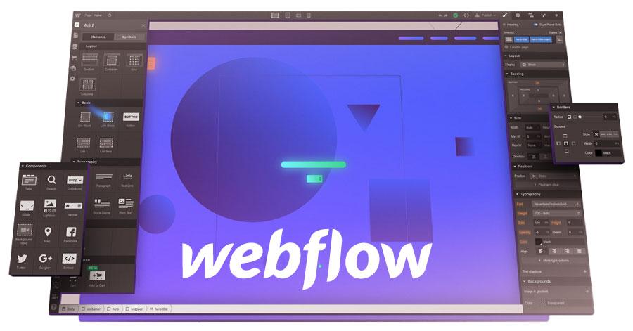 computerscherm met webflow editor erop