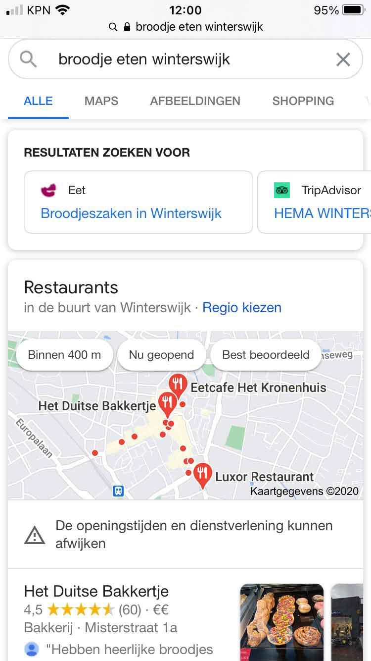 een mobiel local pack screenshot bakker in winterswijk