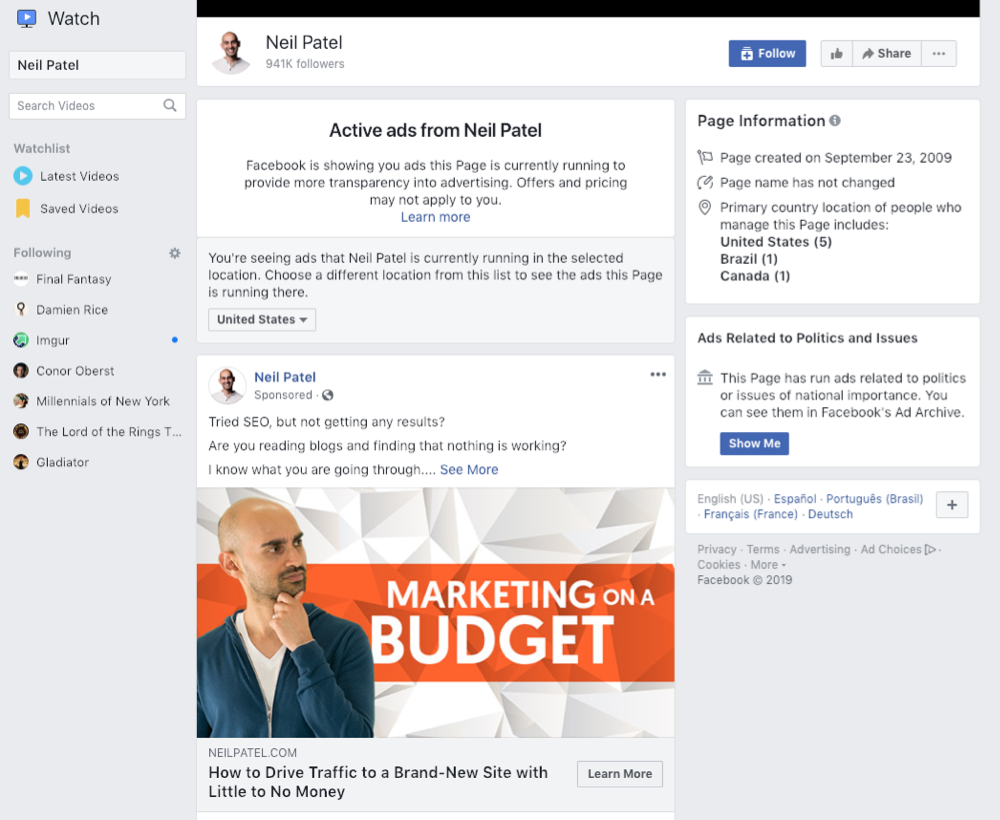 Facebook Info and Ads