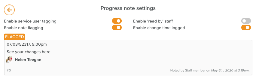 Progress Notes Settings Page