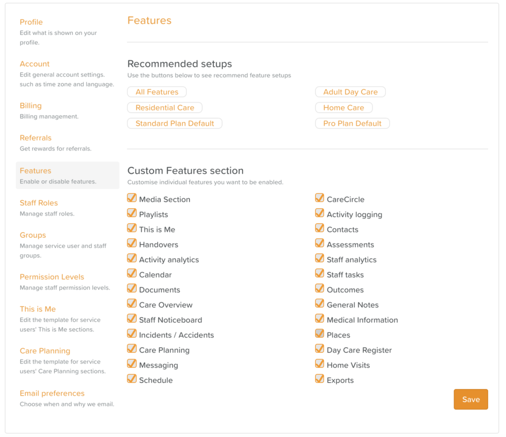 Custom Features Section in Business Settings