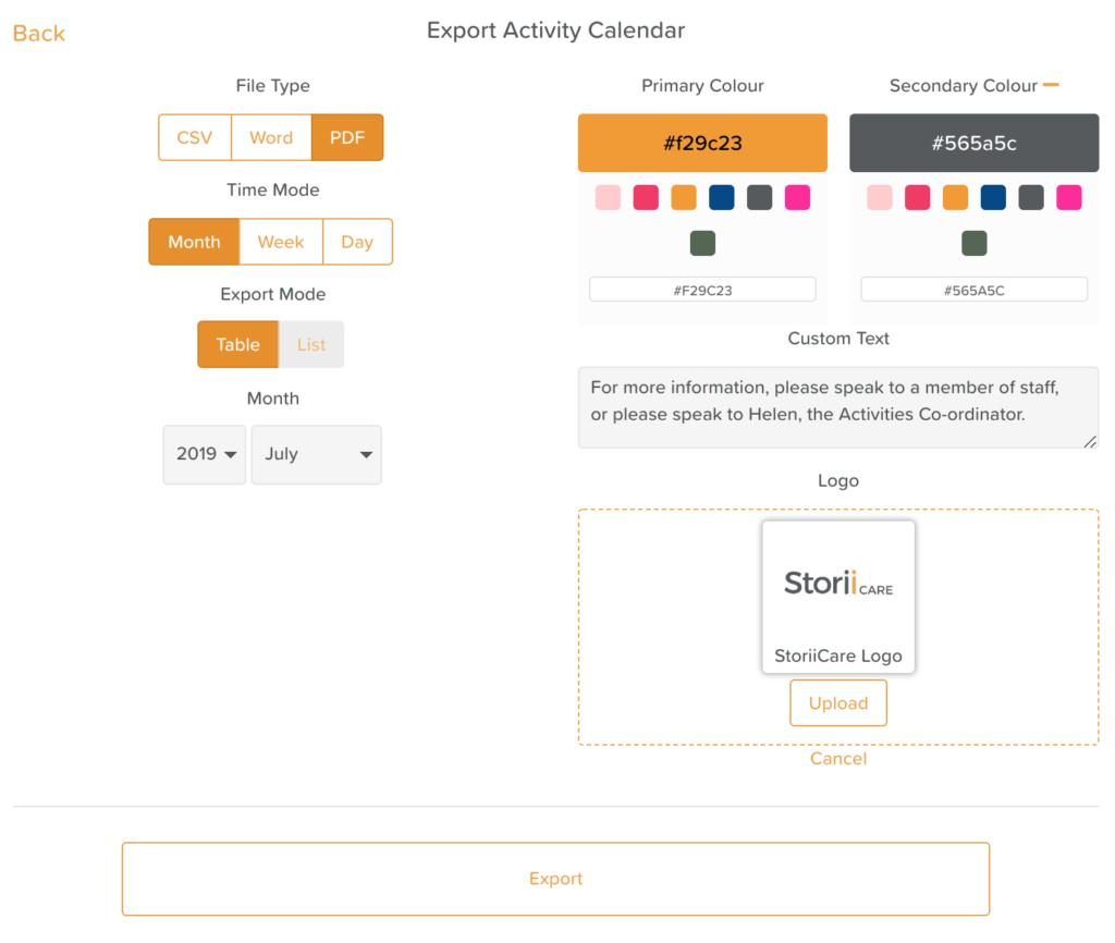 Customize Activity Calendars