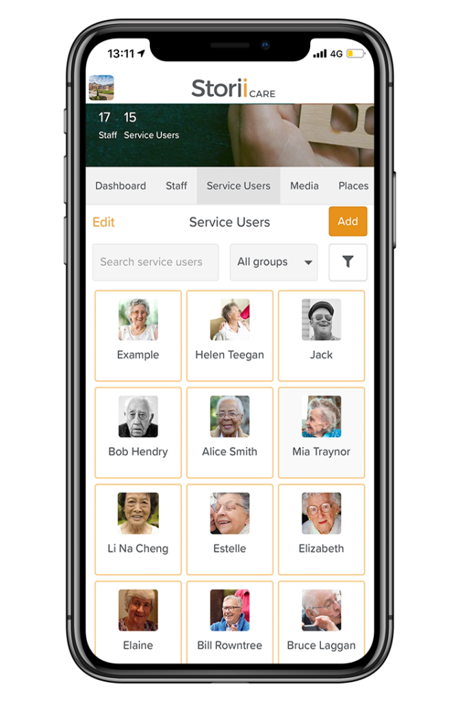 Service Users List on StoriICare App