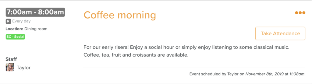 activity description for coffee morning