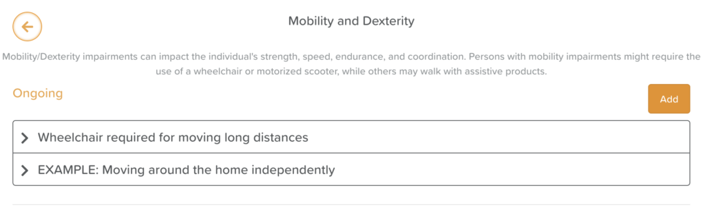 Mobility and Dexterity Care Plan Entry