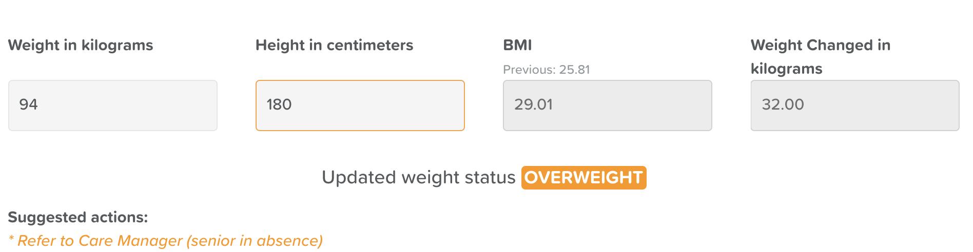 StoriiCare Weight Assessment