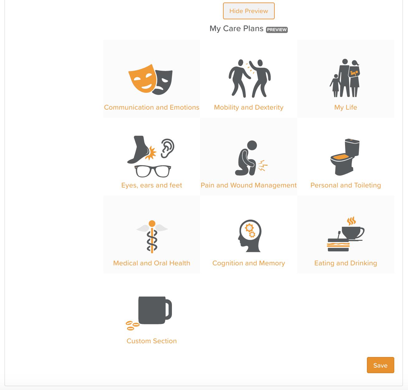 Care Planning Customisation