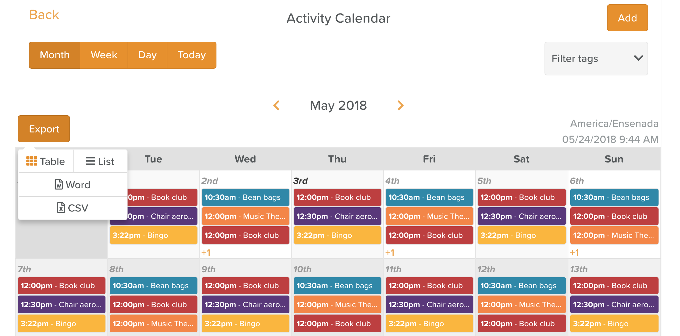 Activity Calendar Export