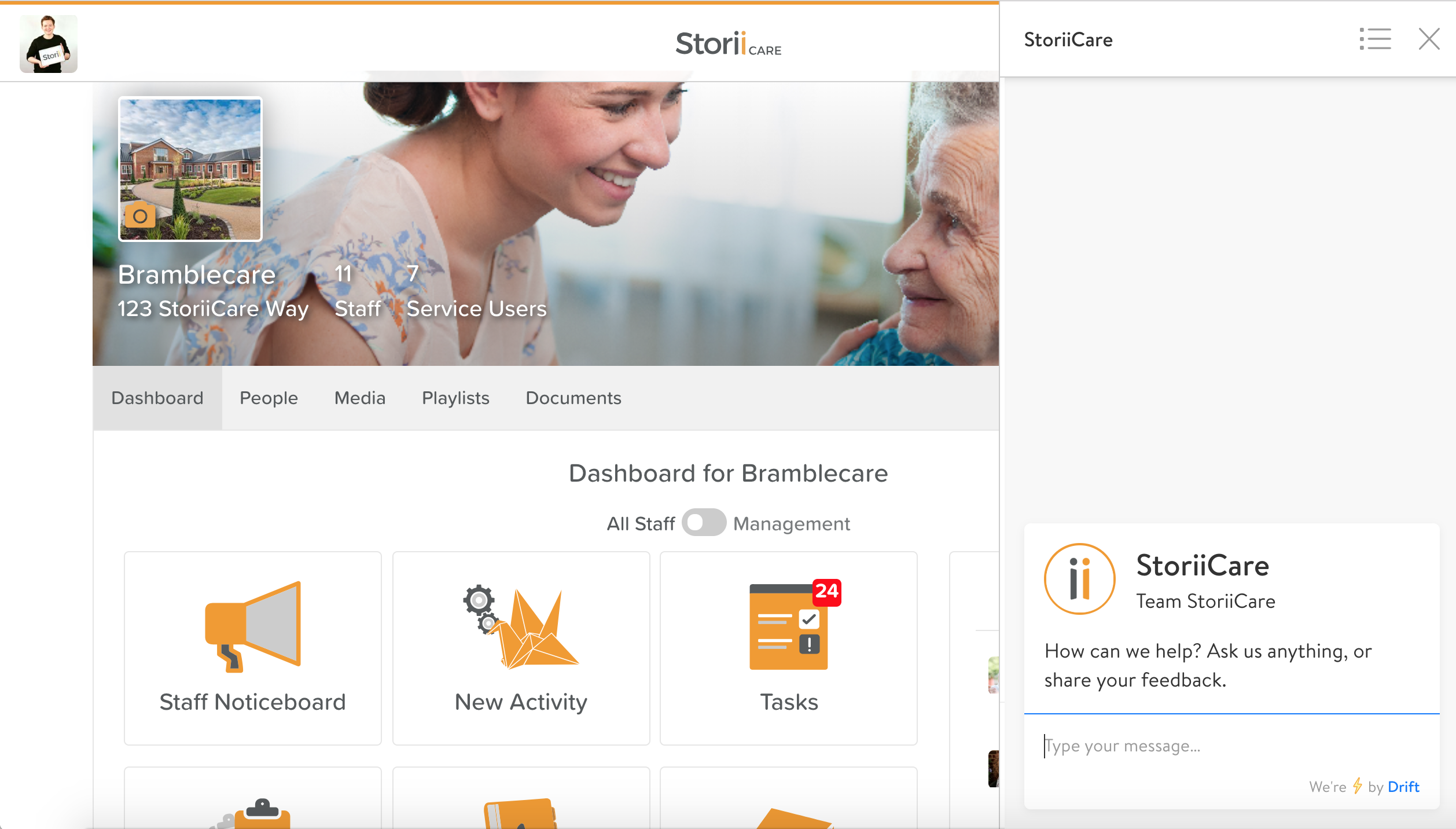 StoriiCare Live Chat