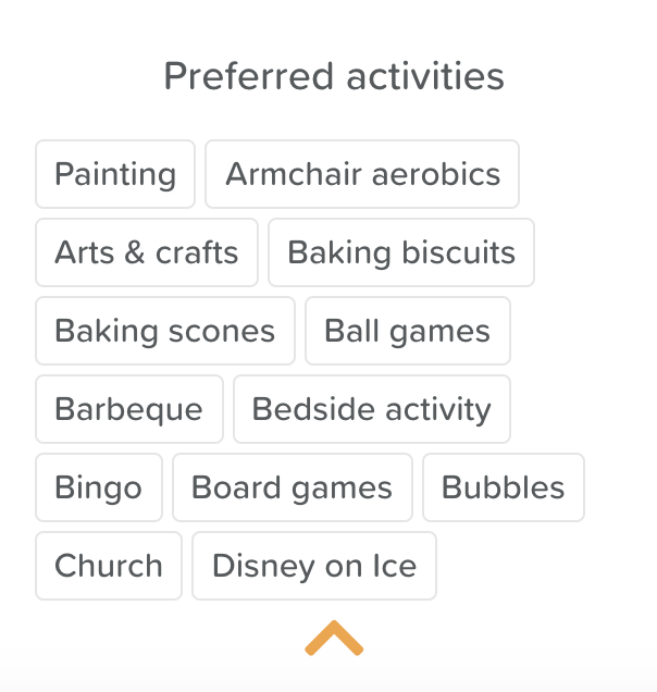 A list of resident's preferred activities