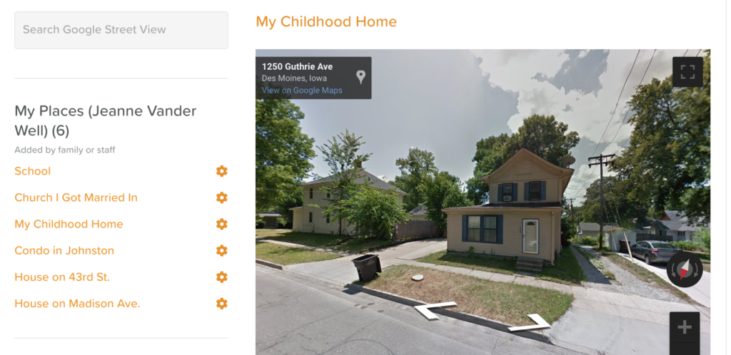 StoriiCare's Places feature using Google Street View to show a resident's childhood home