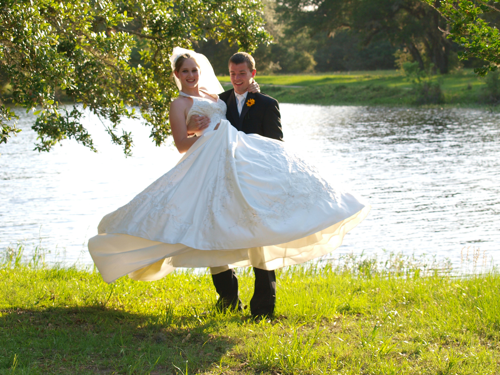 Happy bride and groom at their rustic Texas wedding