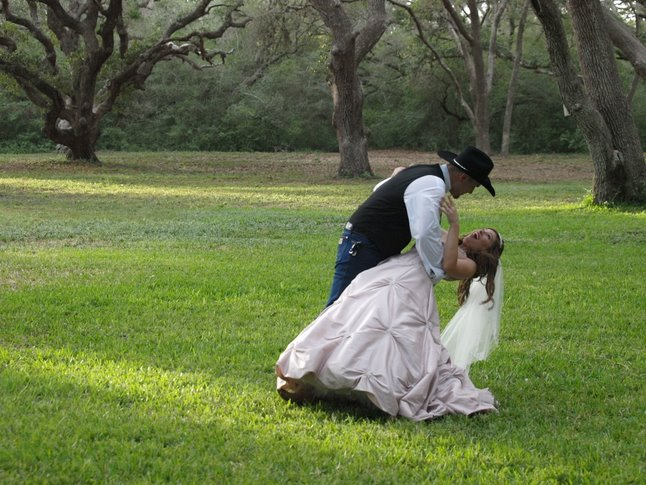 Bride and groom at our wedding venue in Texas