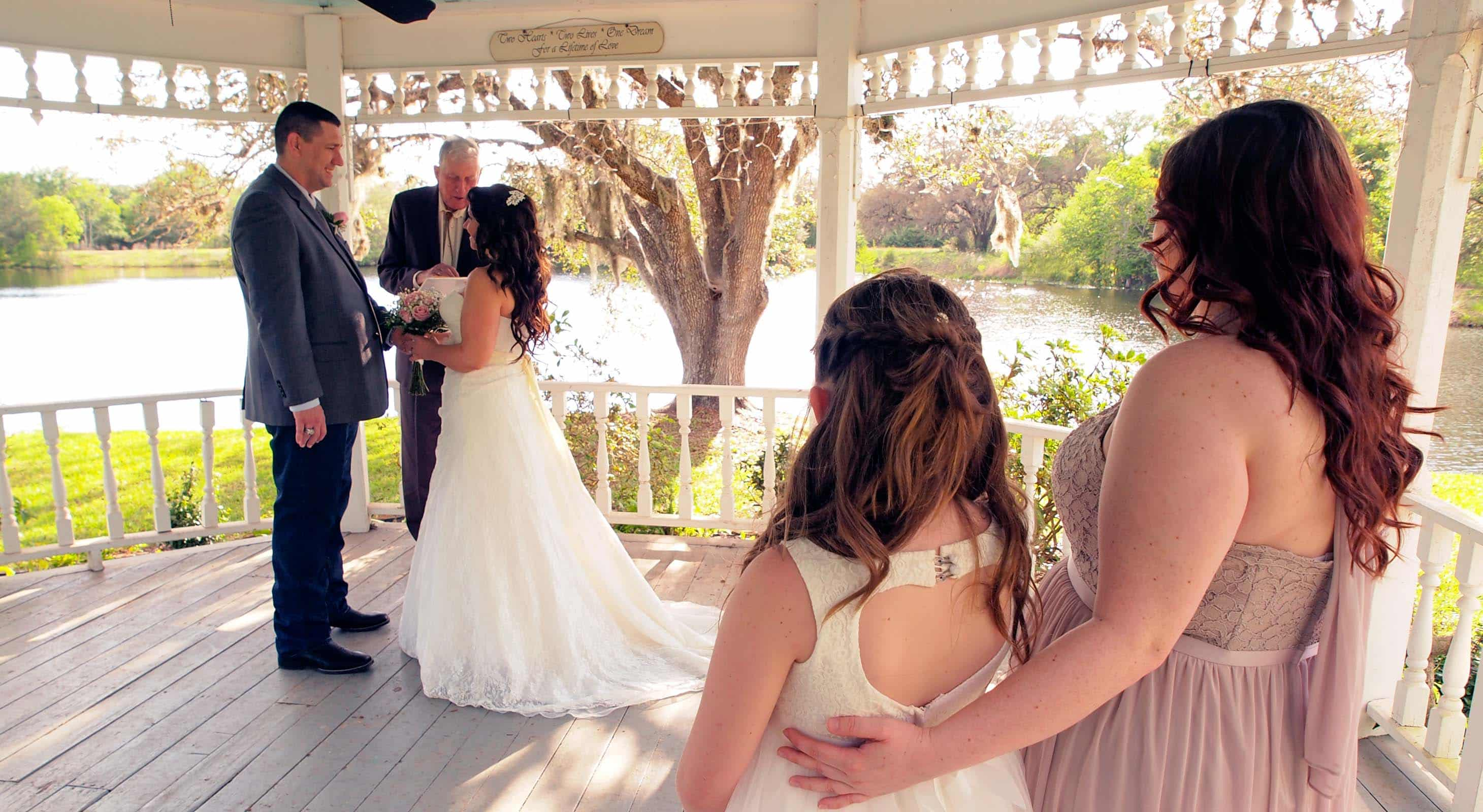 A wedding in the gazebo at BlissWood Ranch