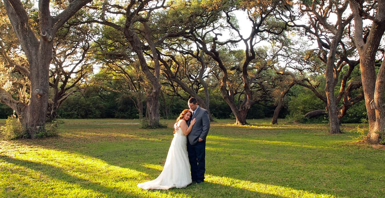 Bride and groom standing under a grove of large oaks at BlissWood Ranch