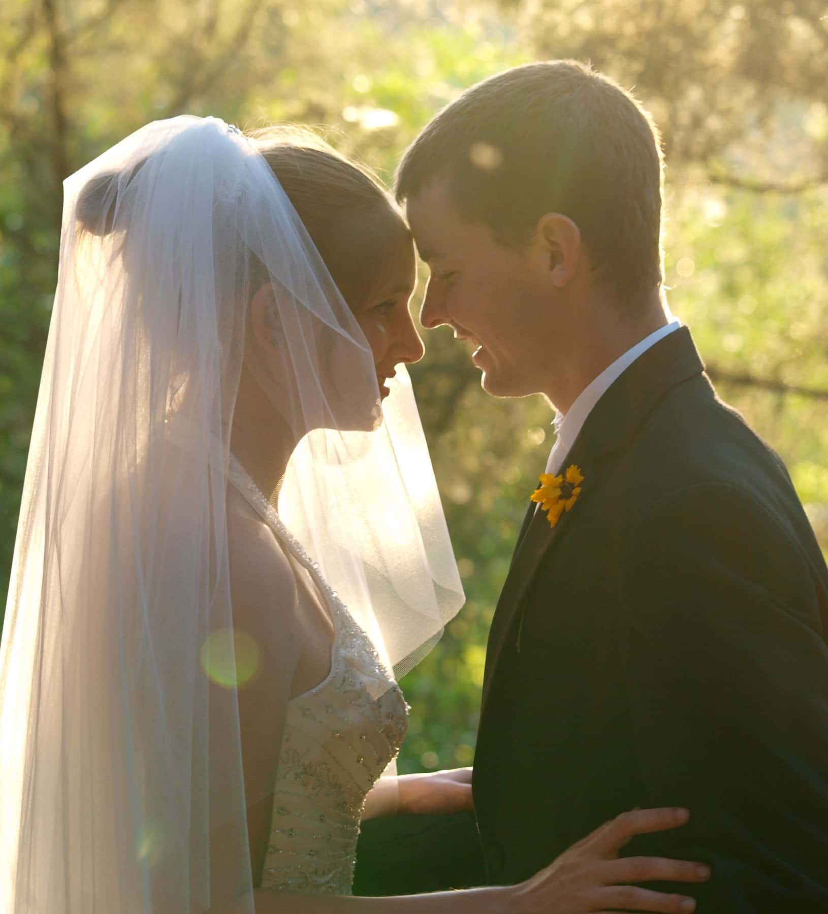 A profile shot of a bride and groom with warm summer light