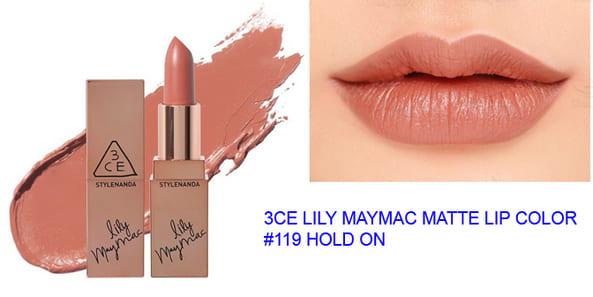 Dòng son 3CE Lily Maymac - màu 119 Hold On (Hàn Quốc)