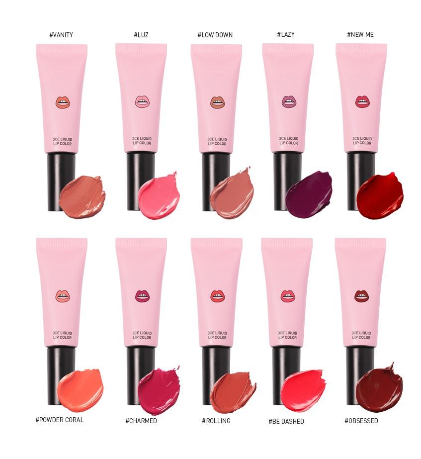 Bảng màu son 3CE Liquid Lip Color với 10 màu son
