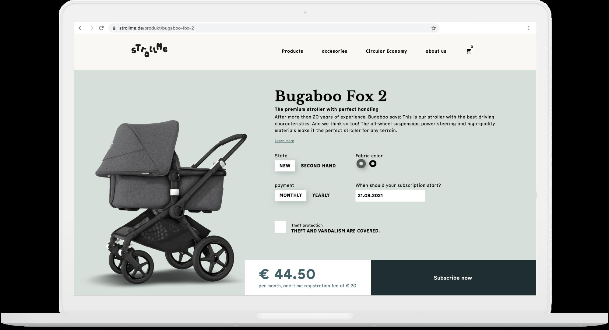 Screenshot Strollme checkout page