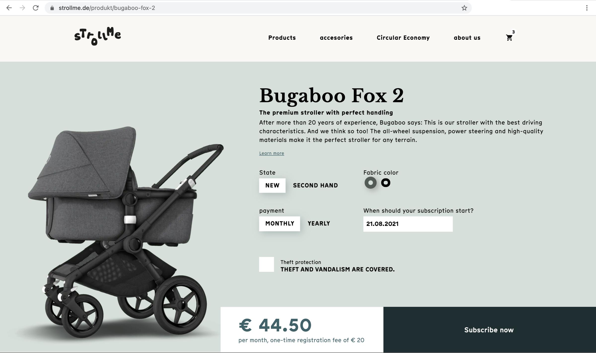 ScreenShot Strollme Website