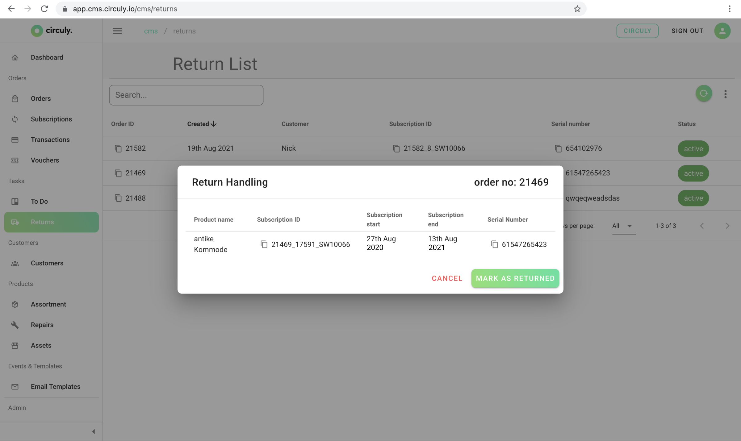 circuly Subscription Management Software