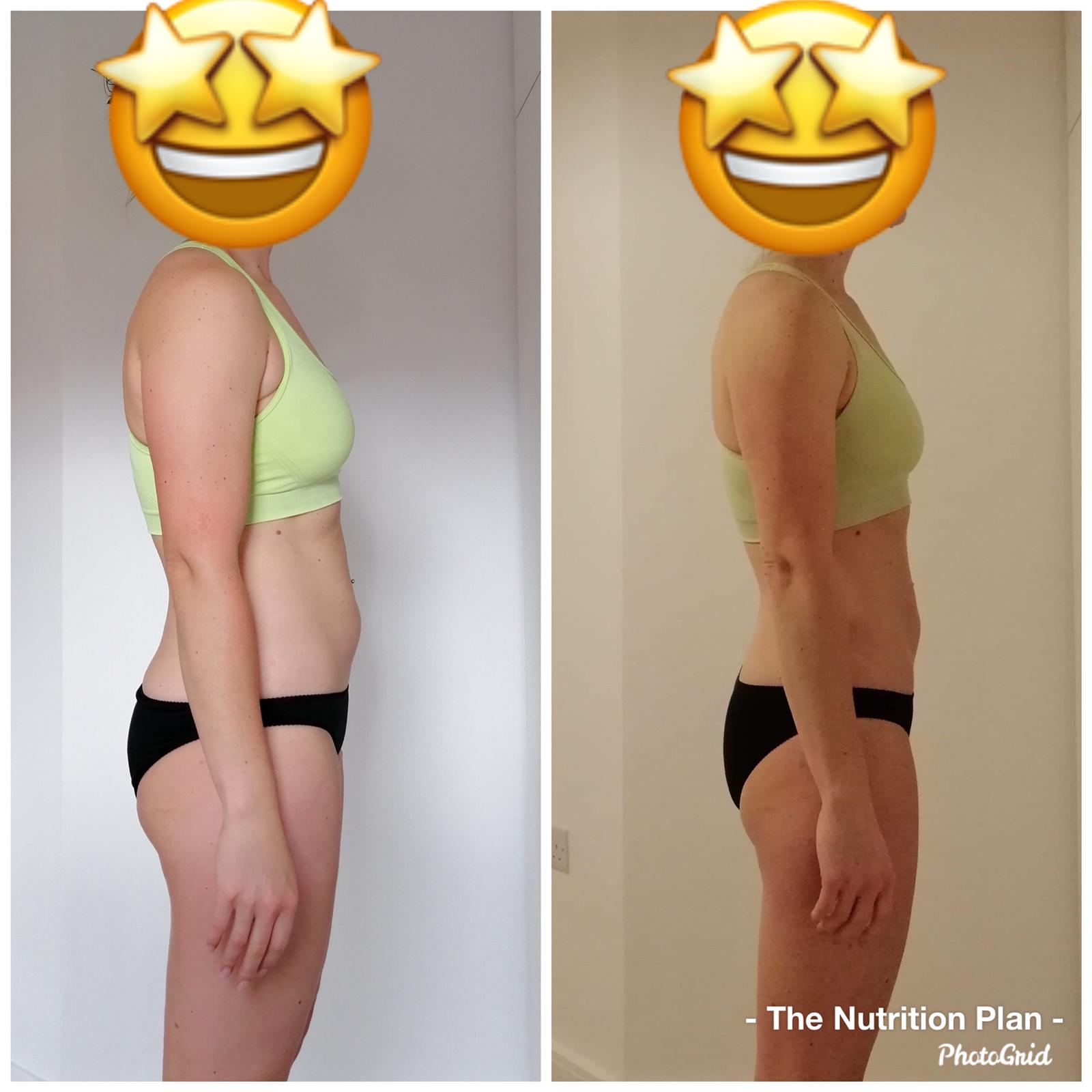 Fat loss before and after side view