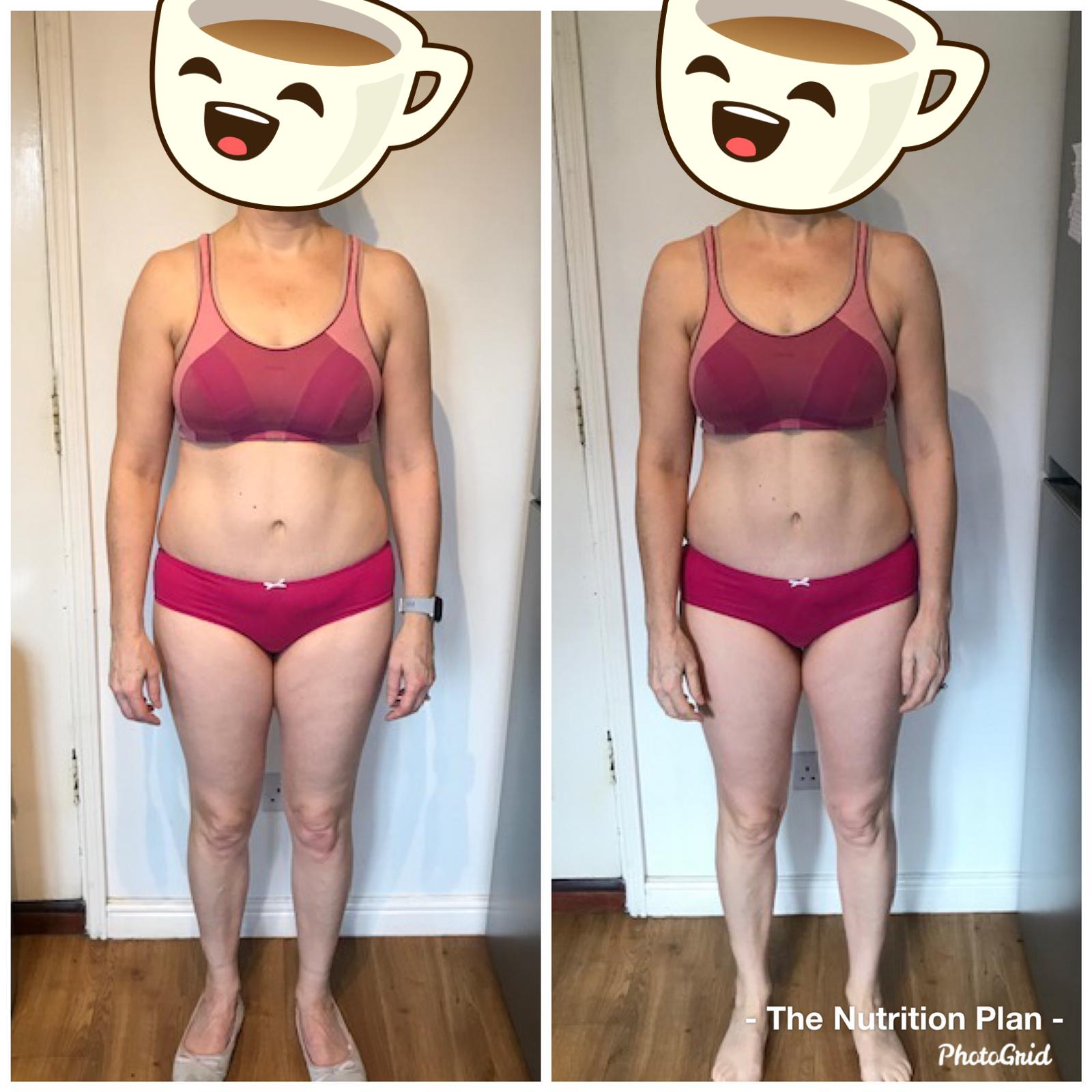 Front view of female fat loss transformation