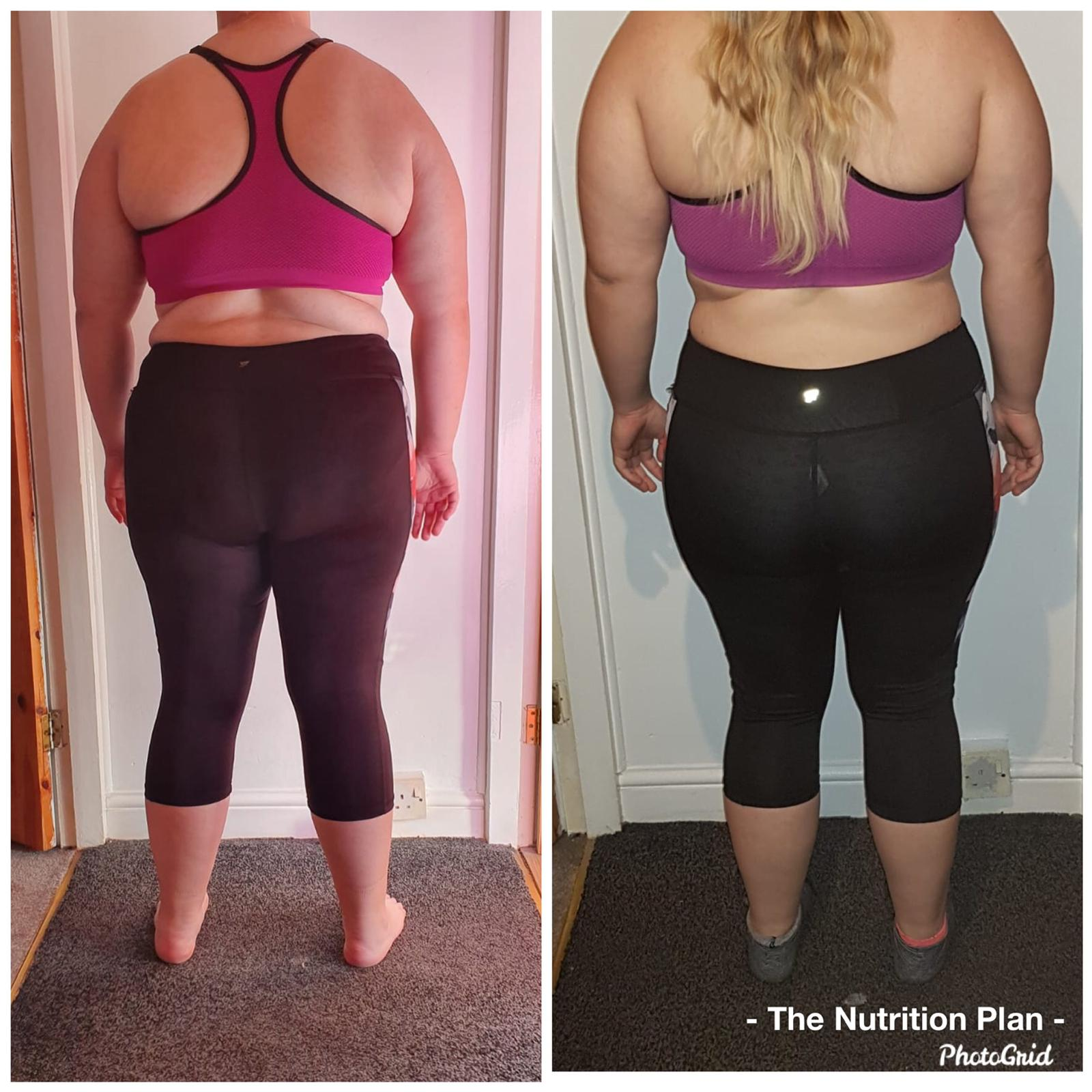 female weight loss progress back