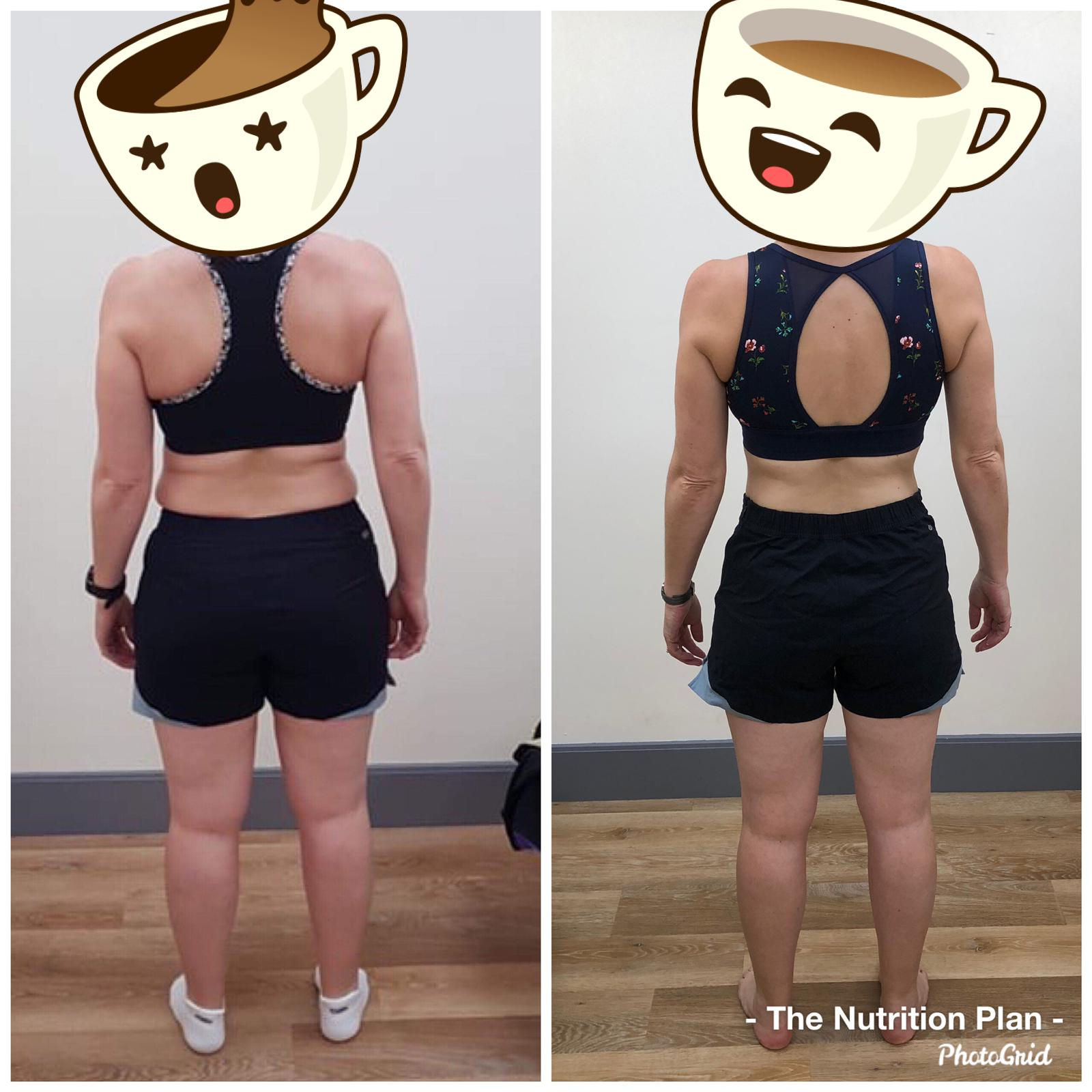 before and after weightloss - back view