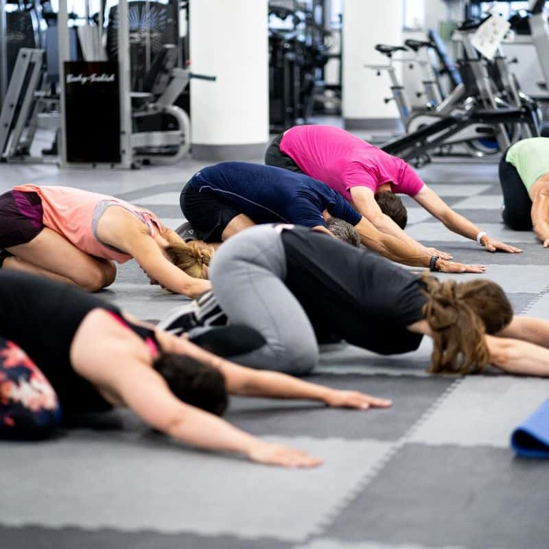 Corporate clients stretching after fitness class