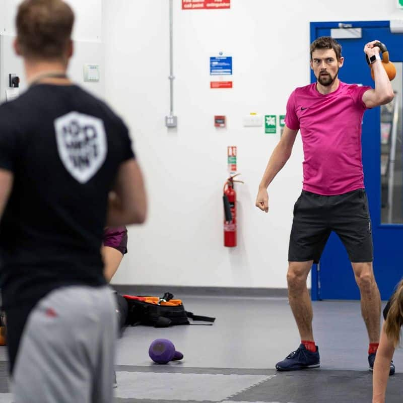 Corporate client training in gym