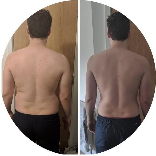 Male client before and after testimonial