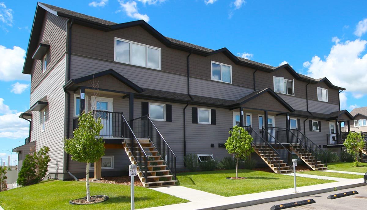 A view of the entrance to the three bedroom suites at the Hartford Heights townhouses in Saskatoon, Sask.