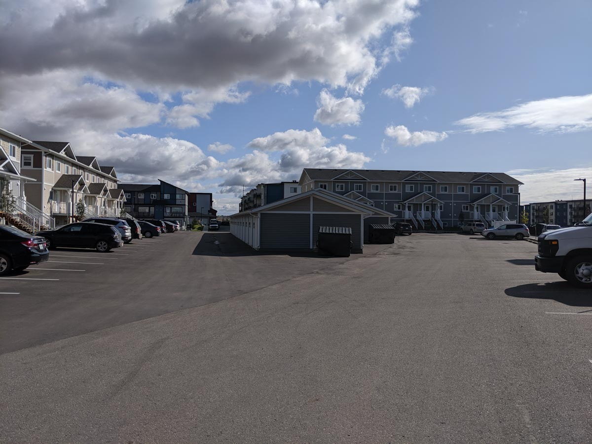 A photo of the parking lot and garage in Urban Flats 2, located in Saskatoon, Sask.