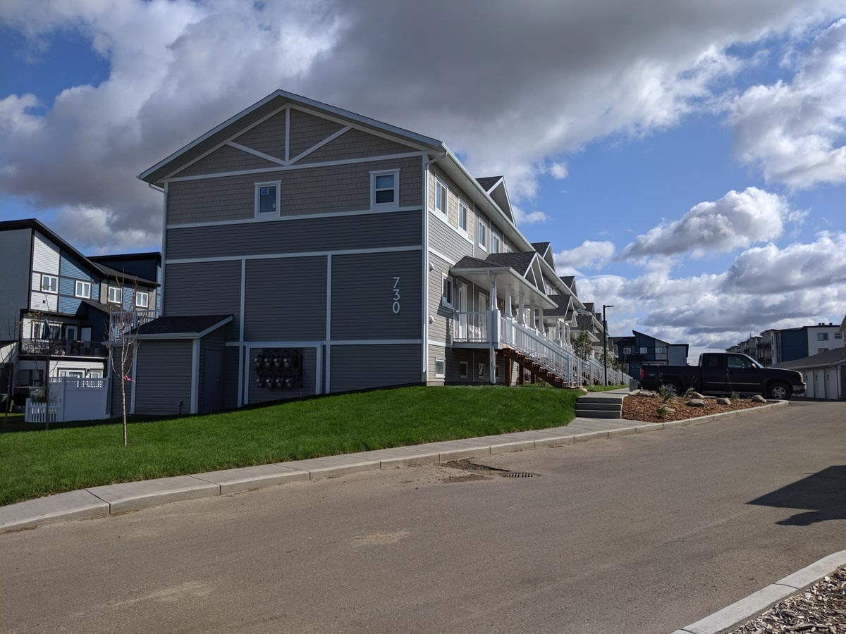 A view from the street of the Urban Flats 2 townhouses in Saskatoon, Sask.