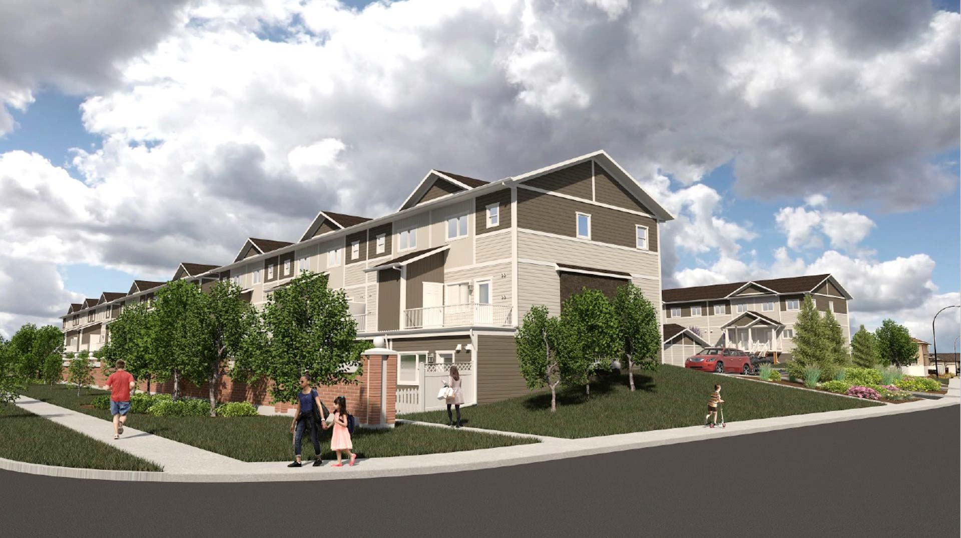 A rendering of Willowview Heights townhouses in Saskatoon, Sask.