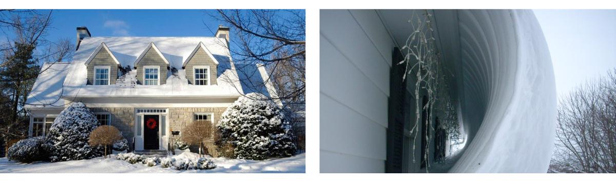 Fuerte nevada en una casa con Techo de TEJA ASFÁLTICA y otra con Techo de Lámina