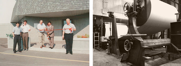 A la izquierda apertura de la primer planta de IKO y a la derecho imagen antigua de la primer planta de manufactura de papel para construcción de IKO