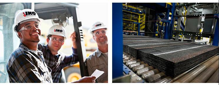 Equipo de trabajo de IKO y proceso de fabricación de la teja asfáltica IKO