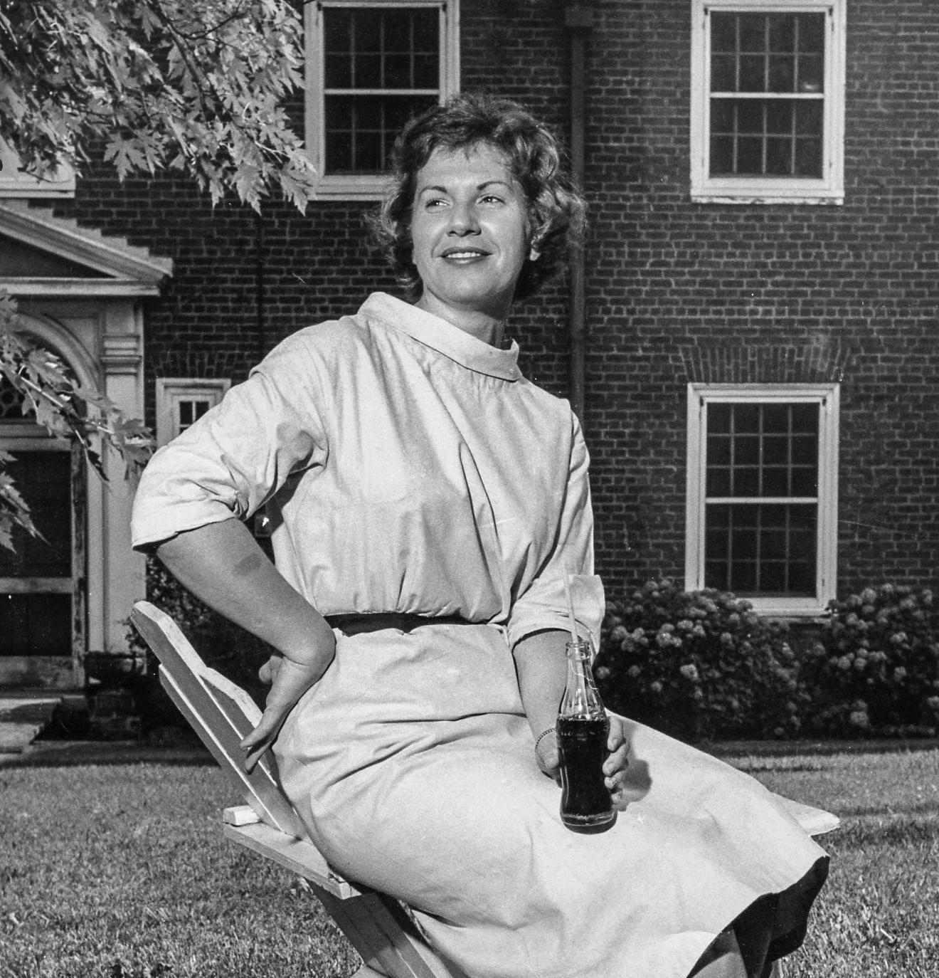 """Mary Elizabeth """"Liz"""" Dodson Conrad with 6 oz. Coke bottle."""