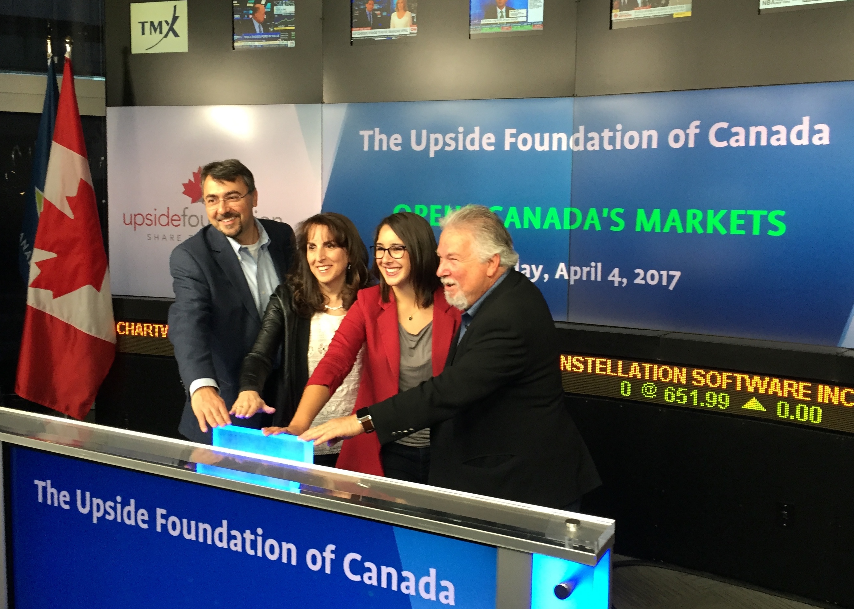 The Upside founders and Executive Directors opening the Toronto Stock Exchange