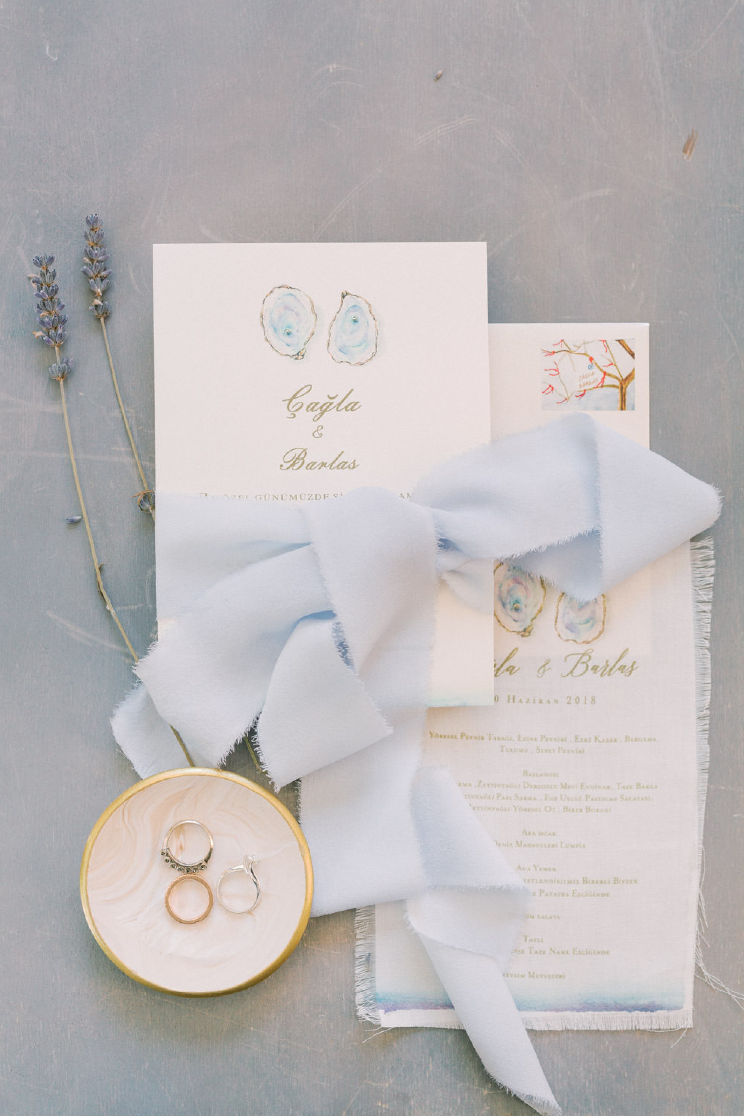 Mediterranean Wedding Invitation Flat Lay